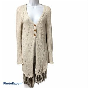 Lucky Brand Knit Cardigan with Tassles